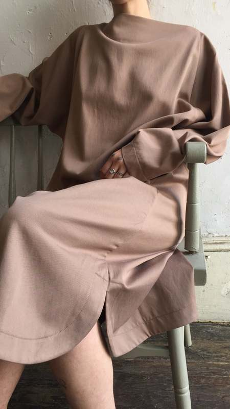 Black Crane Folded Neck Dress - Camel