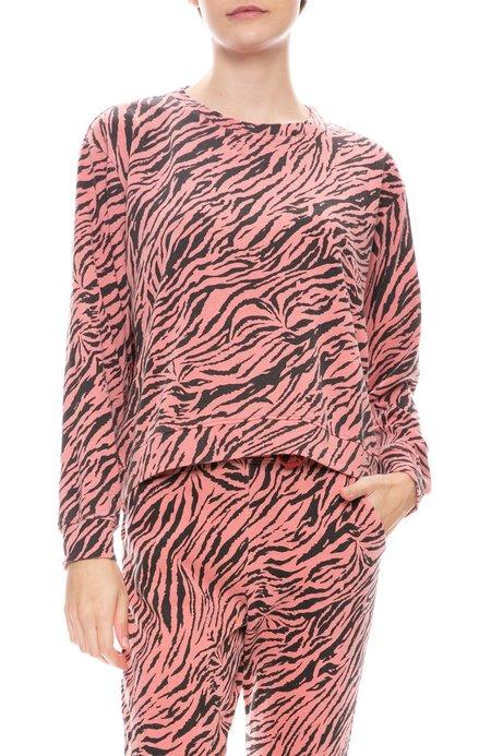 Sundry Zebra Crop Sweatshirt - CORAL