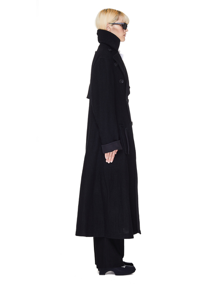 Yohji Yamamoto Wool Double Breasted Coat - Black