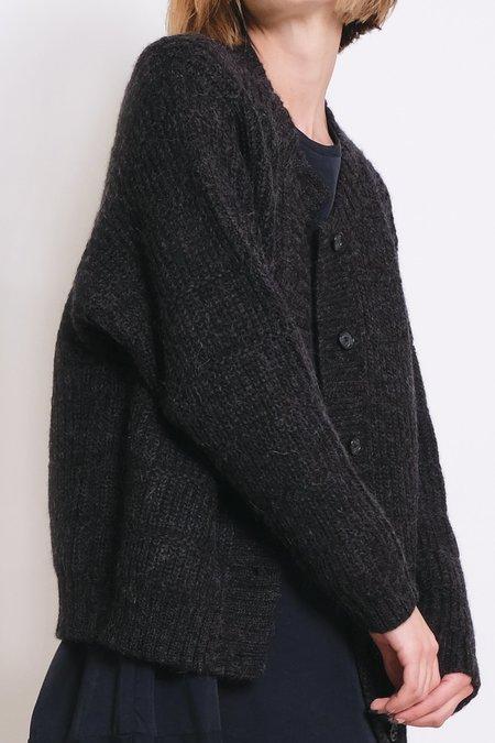 Micaela Greg Melange Chain Stitch Cardigan - Black