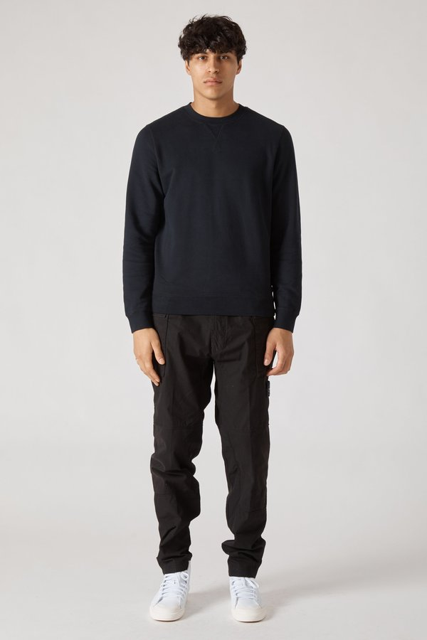 Sunspel Crew Neck Fleece Sweatshirt - Black