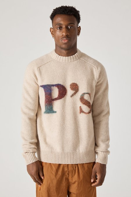 PRESIDENTS Intarsio P's Crew Soft Shetland Wool Sweater - Natural Multi