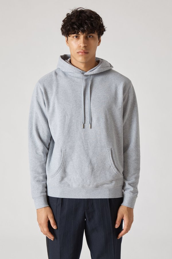 Sunspel Pullover Fleece Hoody - Grey Melange