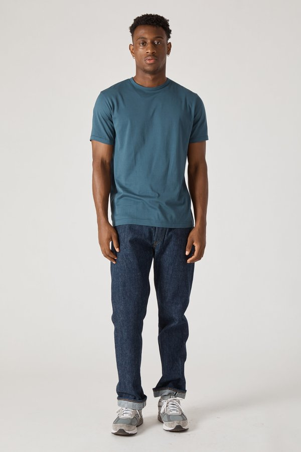 Sunspel Short Sleeve Crew Neck T-Shirt - Petrol