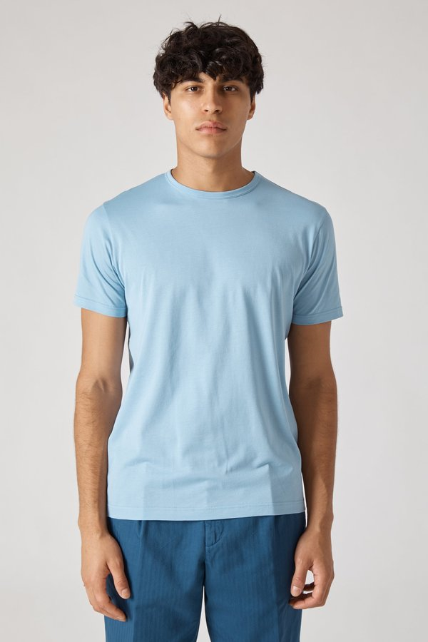 Sunspel Short Sleeve Crew Neck T-Shirt - Sky Blue