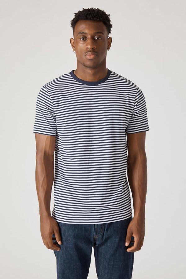 Sunspel Short Sleeve Crew Neck T-Shirt - White/Navy