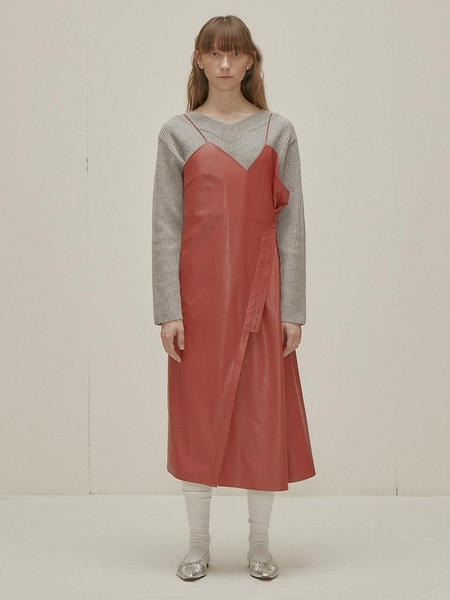 WNDERKAMMER Button Leather Dress - Red
