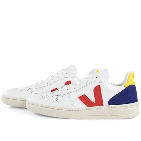 unisex Veja v-10 leather sneaker - White Cobalt Tonic
