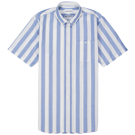 Norse Projects theo oxford ss - Pale Blue Wide Stripe