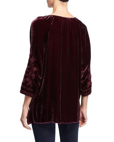 Johnny was DANIELLA VELVET PEASANT BLOUSE - BURGUNDY