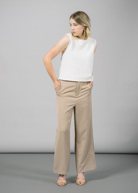Ganni Brown Wide-Leg Tailored Pants