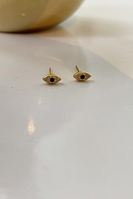 Katie Diamond Evil Eye Studs - Gold Plated