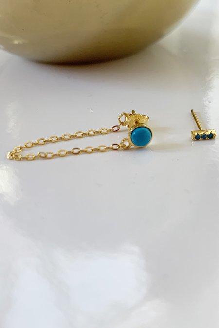 Katie Diamond Chain Earrings - Turquoise
