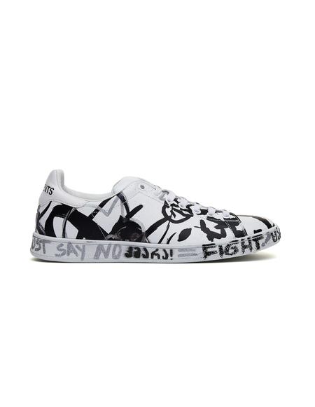 Vetements Graffiti Leather Sneakers - White