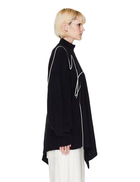 Yohji Yamamoto Lace Trimmed Wool Sweater - Black