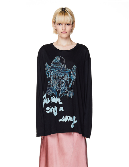 Yohji Yamamoto Printed Longsleeve T-Shirt - Black