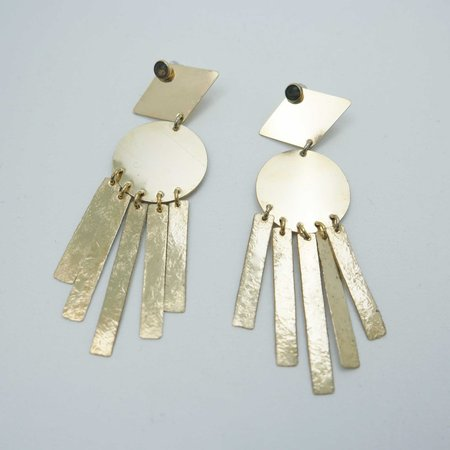Fade into the Abstract Moondance Earrings - Brass/Obsidian