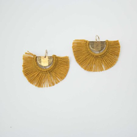 Rebekah J Designs Point B Fringe Earrings - Brass/Marigold