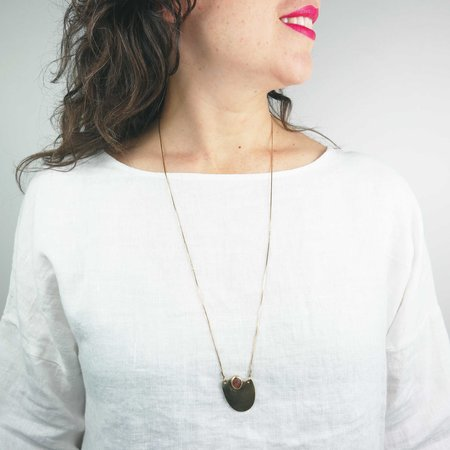 Fade into the Abstract Sway Necklace - Sunstone Brass