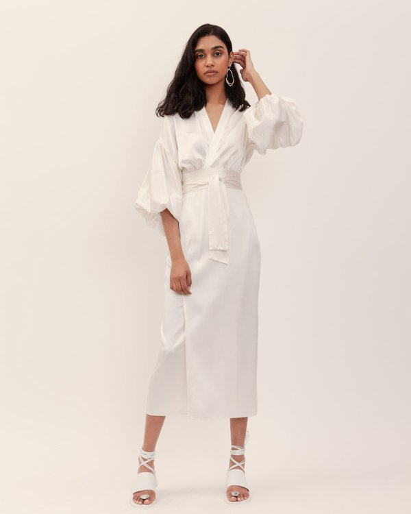 BEFORE MARCH Isabel Wrap Dress - Ivory Washed Silk