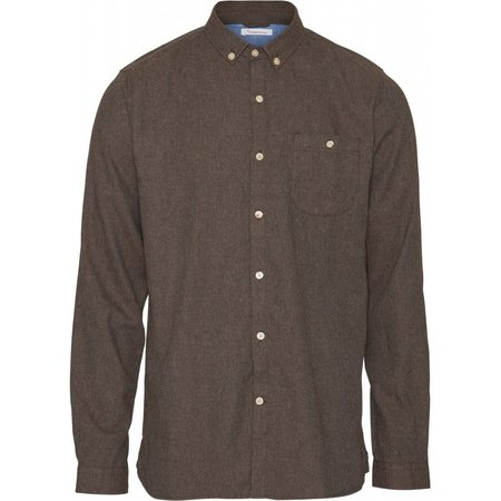 Knowledge Cotton Apparel Melange Effect Flannel Shirt - Dark Earth