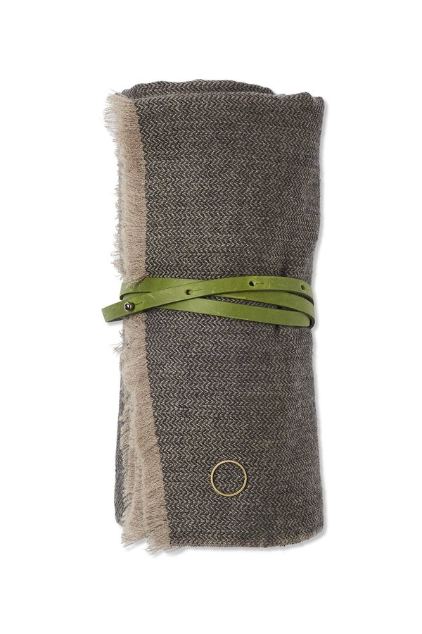 Oyuna Saan Cashmere Travel Throw - Charcoal/Taupe