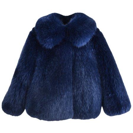 KIDS hucklebones faux fur jacket - navy