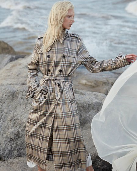 Munthe The Handsome Coated Plaid Trench - Stone Plaid
