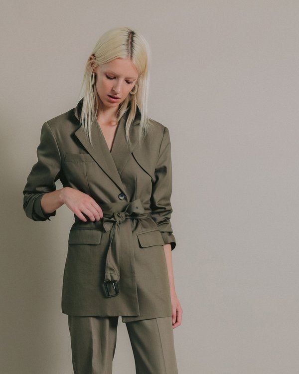More than Yesterday Belted Blazer - Olive