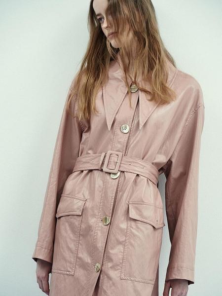MIDNIGHT CIRCUS Retro Collar Leather Coat - Rose Pink