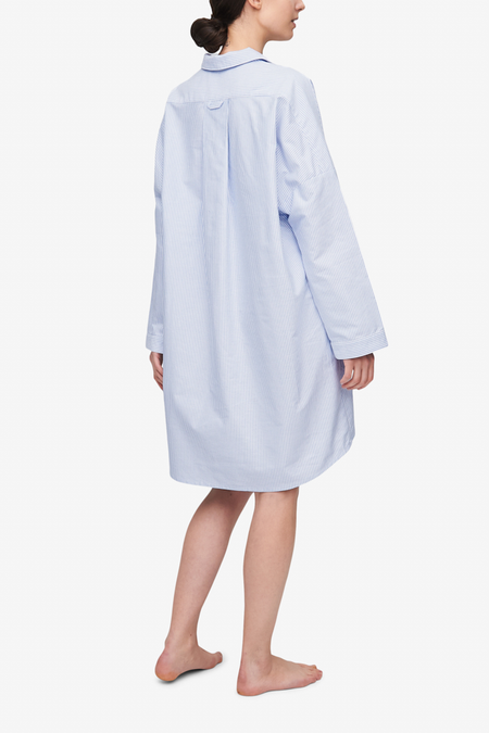 The Sleep Shirt Dropped Shoulder Sleep Shirt - Blue Oxford Stripe
