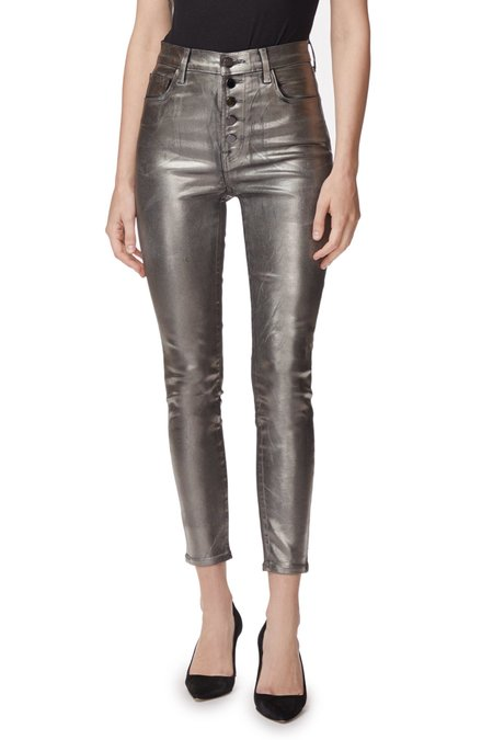 J Brand Lillie High Rise Crop Skinny - Galactic Silver