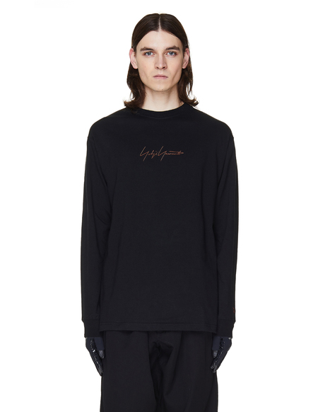 Yohji Yamamoto Embroidered Cotton Longsleeve T-Shirt - Black
