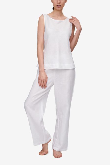 The Sleep Shirt Bias Cut Top & Lounge Pant Set - White