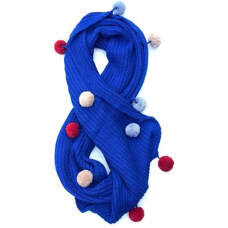 KIDS cabbages & kings double wrap pom scarf - BLUE
