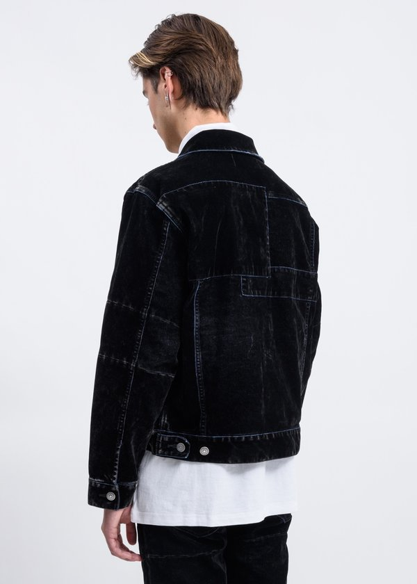 Christian Dada Flock-print Patchwork Denim Jacket - Black