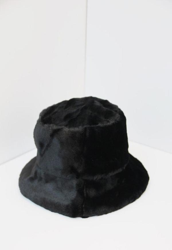Collection & Co Faux Fur Bucket Hat - Black