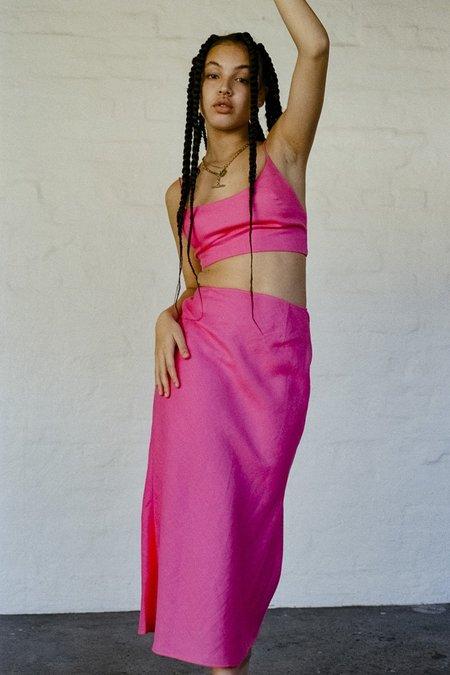 SISTER Sweetheart Linen Bias Skirt - Fuchsia Pink