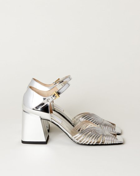 Suzanne Rae High Heel 70s Strappy Sandal - Silver