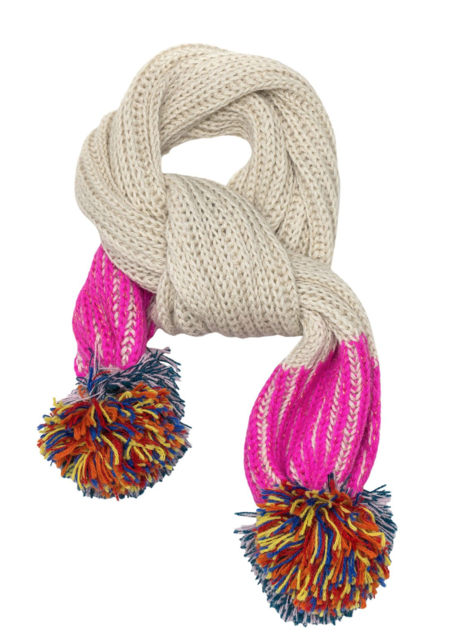 KIDS cabbages & kings ny pom scarf - hot pink/silver sparkle