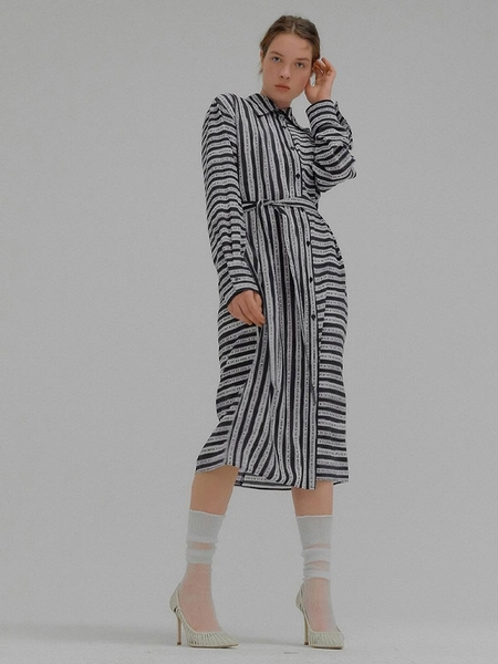 EENK Monica Long Shirt Dress - Black Stripe