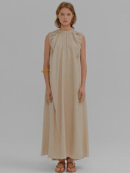 EENK Meriel Shirred Sleeveless Long Dress - Beige