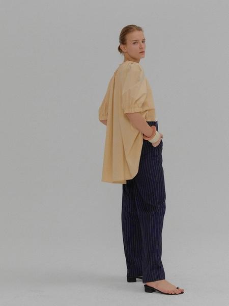EENK Molly Short Sleeve Puff Blouse - Beige