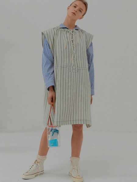 EENK Manon Tunic Dress With Waist String - Green