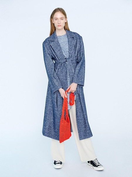 EENK Klen Belted Slit Long Coat - Navy