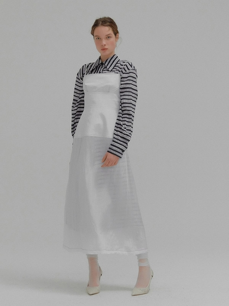 EENK Monet Stitch-Pointed Slip Dress With Inner Skirt