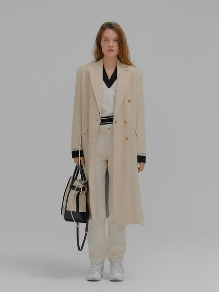 Madison Detachable Collar Long Jacket With Leather - Beige