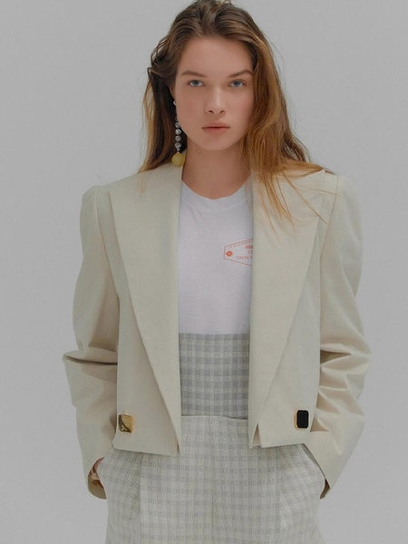 Mem Beige Short Jacket With Detachable Collar - Beige