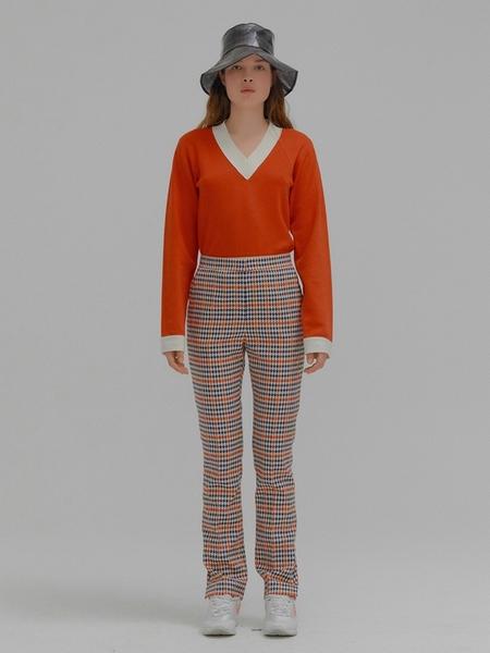 EENK Milona Check Slim Pants - Red Multi
