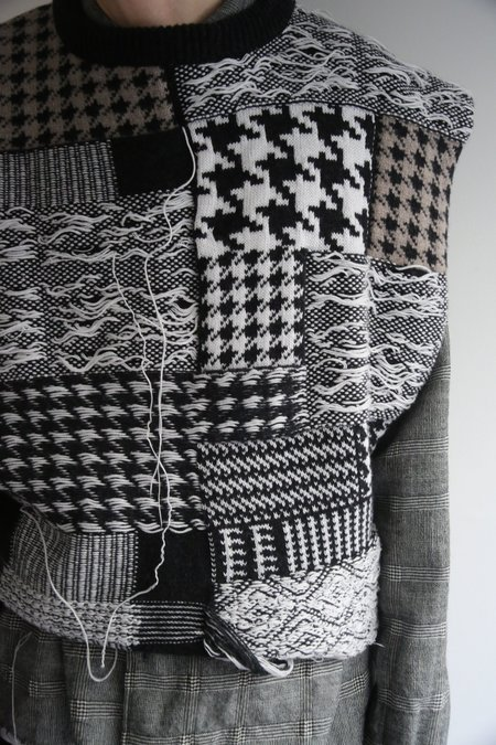 CMMN SWDN Leon Patchwork Knit Vest - Black/White